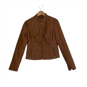Lulu's Peace of Mind Tan Vegan Leather Moto Jacket Women's Size Small Full Zip